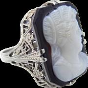 1920's 18k White Gold Filigree Hardstone Cameo Ring