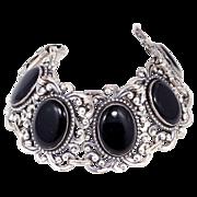 HUGE Danecraft Sterling & Onyx Bracelet & Matching Earrings