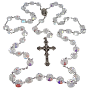 HUGE Sterling Silver Aurora Borealis Beads Rosary 132 Grams