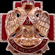 Victorian 10k Gold Scottish Rite 33rd Degree Masonic Pin