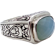 Gorgeous Sterling Silver Faceted Chalcedony Fuzion Ring