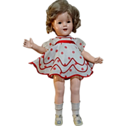 """SALE 1934 Ideal Shirley Temple 18"""" Composition Doll Tagged Dress A/O"""