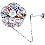 14k White Gold & 1/2 tcw Diamonds 1958-59 Past Worthy Matron Order of the ...