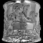 "Victorian 1 3/4"" Wide Silverplate Cherub Napkin Ring"