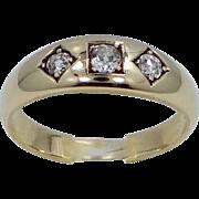 14k Gold 3 Diamond Man's Ring Cushion Cut Diamonds 1920's