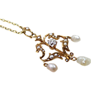 Victorian 14k Gold 0.25 Carat Diamond & Seed Pearls Lavaliere