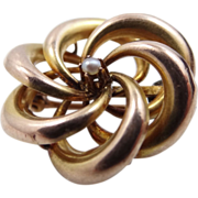 10k Gold & Seed Pearl Victorian Love Knot Pin