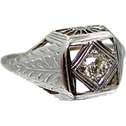 18k White Gold Filigree 1/4 Carat Diamond Ring Art Deco