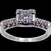 1940s Platinum & Diamond Size 9 Ladies Ring
