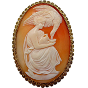 Rare Victorian 14k Gold Leda & the Swan Cameo Pin or Hebe and the Eagle