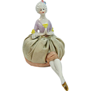 Porcelain Boudoir Half Doll With Legs Pin Cushion 237 Mold Mark