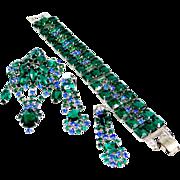 Emerald Green Bracelet, Brooch & Earrings Rhinestone Parure