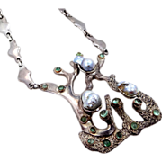 Signed Espinosa Sterling Silver Pearls  & Quartz HEAVY Mexico Necklace