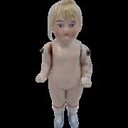 "3 1/2"" High Vintage Bisque Doll Painted Socks & Shoes & Blonde Wig"