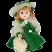 1950s Cosmopolitan Ginger Doll Tagged Green Velvet & Fur Coat, Hat & Muff #960