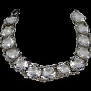 Edwardian Sterling Silver Open Back Crystals Bracelet