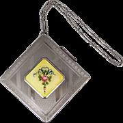 1920s Guilloche Enamel Flower Chatelaine Compact