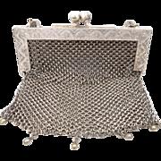 SOLD Victorian German Silver Mesh Purse Fancy Frame