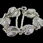 Vintage Danecraft Sterling Silver Leaves Bracelet