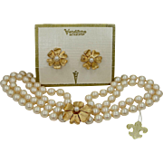 Vendome Simulated Pearls Necklace & Matching Earring on Original Card with Hang Tag