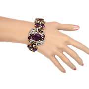 SOLD Alfred Philippe Trifari Empress Eugenie Line Pave Rhinestones Black Enamel Purple Link Br