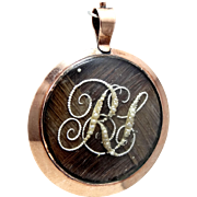 Georgian 10K Gold Hairwork 2 Sided Locket / Pendant with Seed Pearls forming Monograms