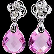 10k White Gold Diamonds and Synthetic Light Ruby Dangle Earrings