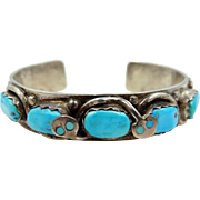 Signed Effie C. Vintage Native American Zuni Sterling and Turquoise Cuff Bracelet
