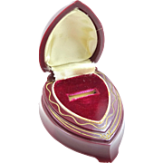 SOLD Burgundy Art Deco Hard Plastic Heart Shaped Ring Box