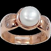 10k ROSE Gold Freshwater Pearl Lady's Diamond Ring