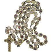 Unusual and Old Rosary with Images on Beads with Latin Explanations on Reverse