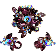 Pretty 1960's Rich Purple Rhinestones Brooch and Matching Earrings