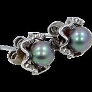 Sterling Silver Faux Lavender / Green Pearl Pierced Earrings