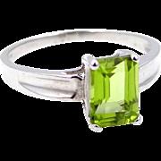 10k White Gold Emerald Cut 1 Carat Peridot Ring