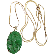 14k Gold Carved and Pierced Jade Necklace