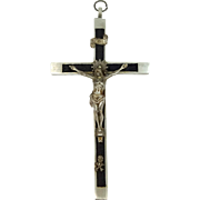 SOLD Early 1900s Germany Inlaid Ebony Nun's Pectoral Crucifix