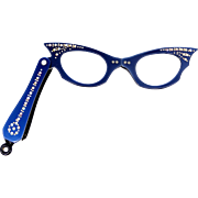 Vintage Blue Rhinestone Folding Cat's Eye Glasses