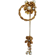 Unsigned Miriam Haskell Faux Pearls Stick Pin