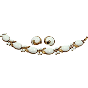 1960s Trifari Milk Glass Bracelet and Matching Earrings