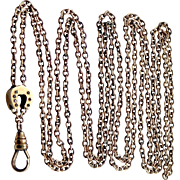 SOLD Victorian 10k Seed Pearls Horse Shoe Slide on Gold Filled Chain