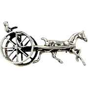 1940s Danecraft Sterling Silver Carriage and Horse Pin Felch Co. Hallmark