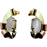 Retro 14k Yellow & Rose Gold Mystical Moonstone Pierced Earrings