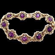 Art Nouveau Gold Filled Amethyst Glass Bracelet