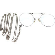 Art Deco Folding Gold Filled Eye Glasses & Lorgnette Chain