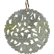"SALE Rare Carved and Pierced Jadeite Pendant 2 1/2"" Wide with 14k Bail"
