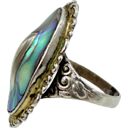 1920s Sterling Silver and Abalone Size 5 1/2 Ring