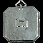 Edwardian Webster Co. Hammered Sterling Silver Locket, Watch Fob