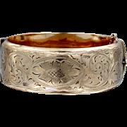 WIDE Victorian 9k Rolled Gold Finely Etched Bangle Bracelet