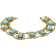Victorian Gilt Brass & Turquoise Blue Glass Choker Necklace