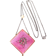 Victorian Platinum and 14k Gold Pink Enamel w/Diamonds Mourning Necklace